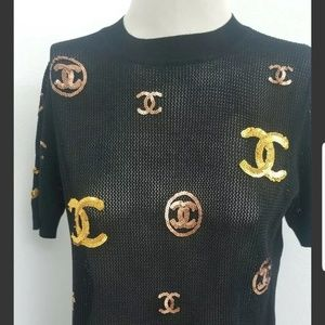 Chanel knitted black gold siquens cc logo top 40
